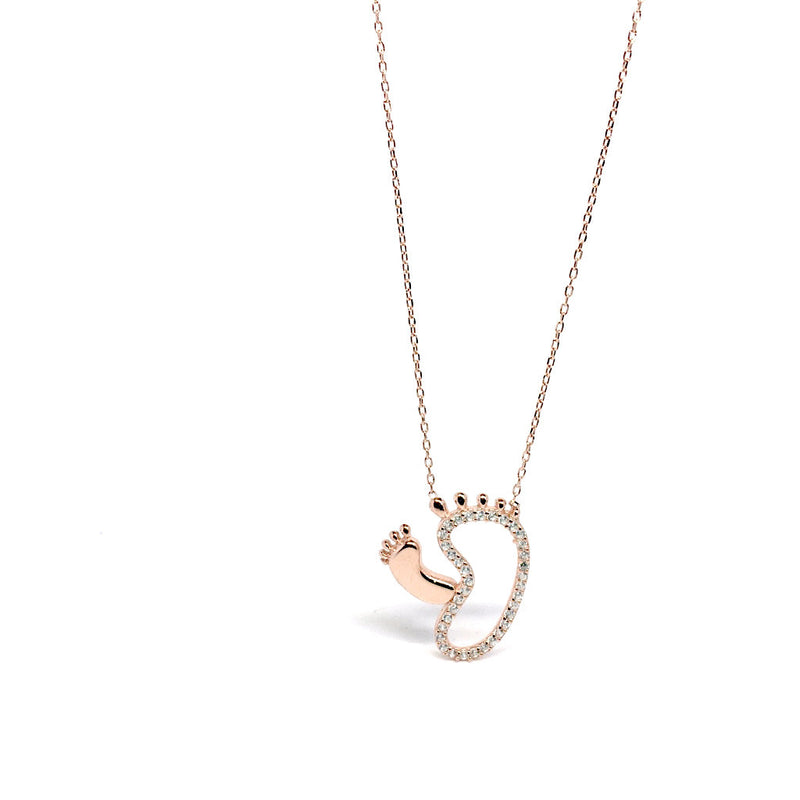 Cubic Zirconia Sterling Silver Baby Feet Necklace by Naked Nation