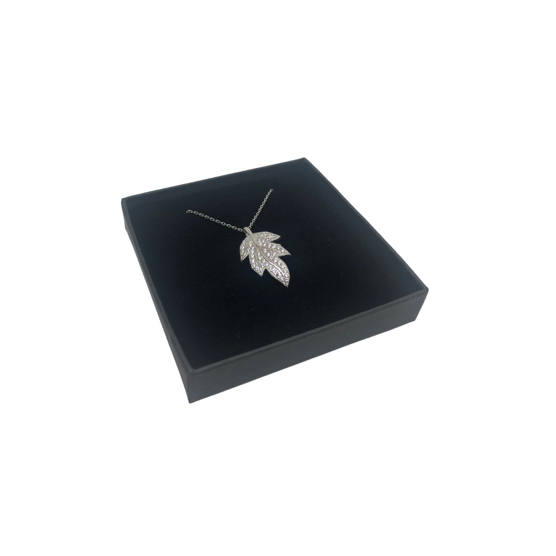 Sterling Silver Necklace with Cubic Zirconia Leaf Design Pendant
