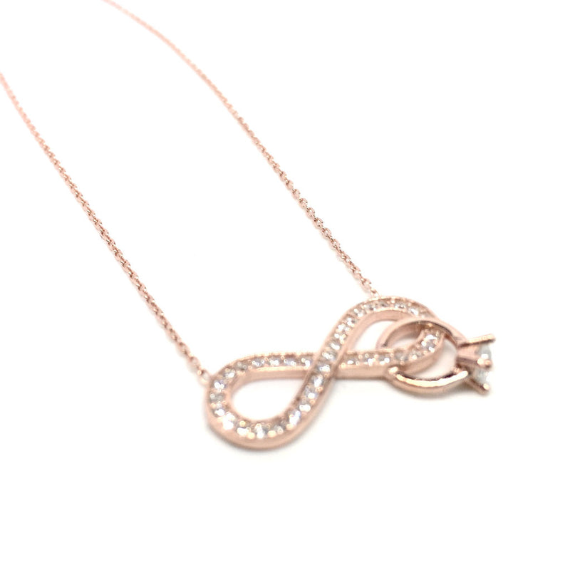 Silver and Rose Gold Crystals Infinity Pendant Necklace