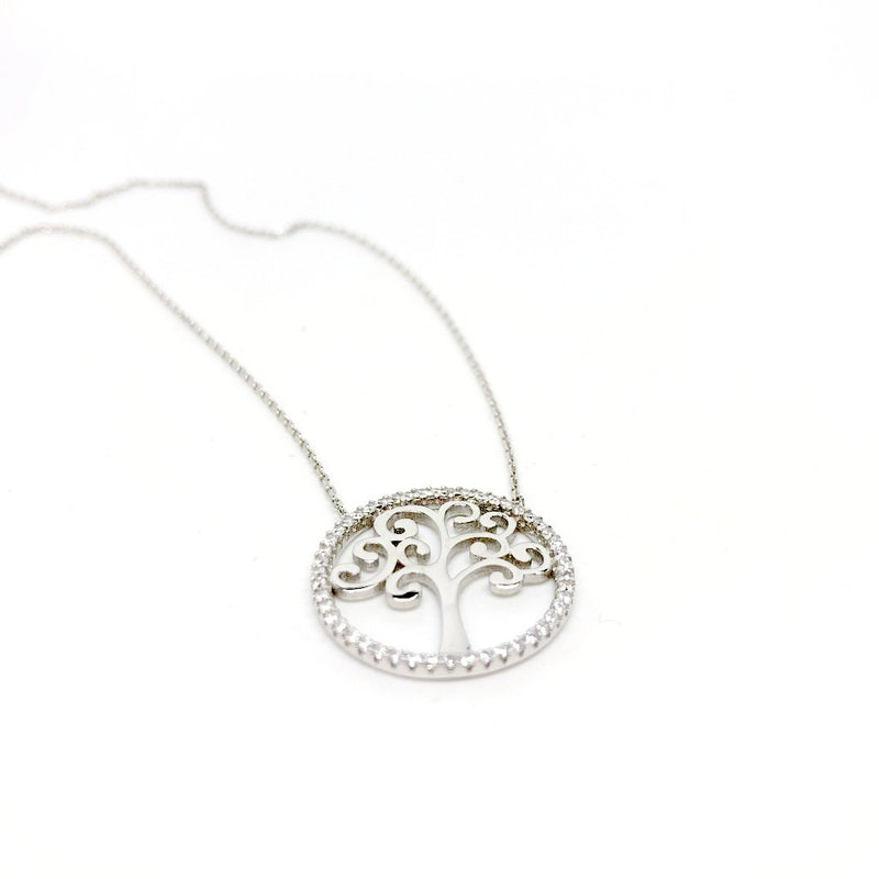 Sterling Silver Family Tree of Life Necklace with Crystals