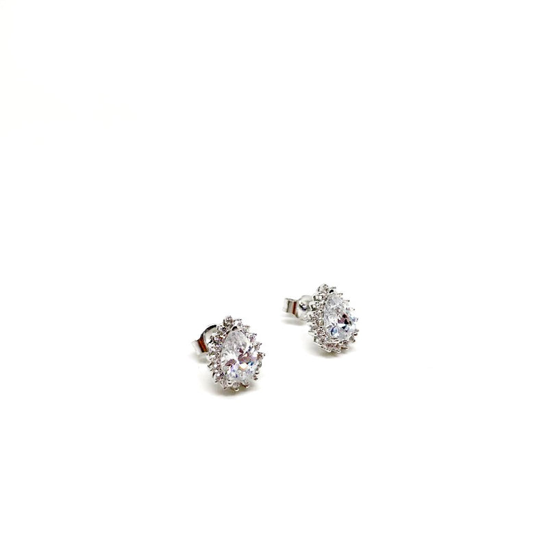 925 Sterling Silver Drop Stud Earrings. Red, Purple and White Available