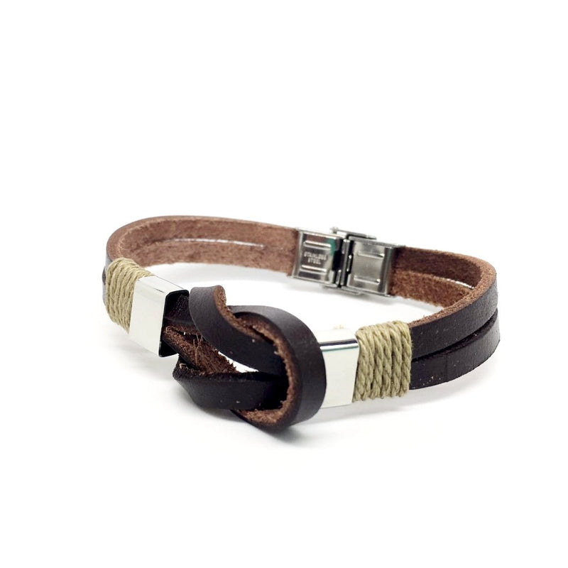 Genuine Leather Italian Bracelet with Stainless Steel Closure for Men