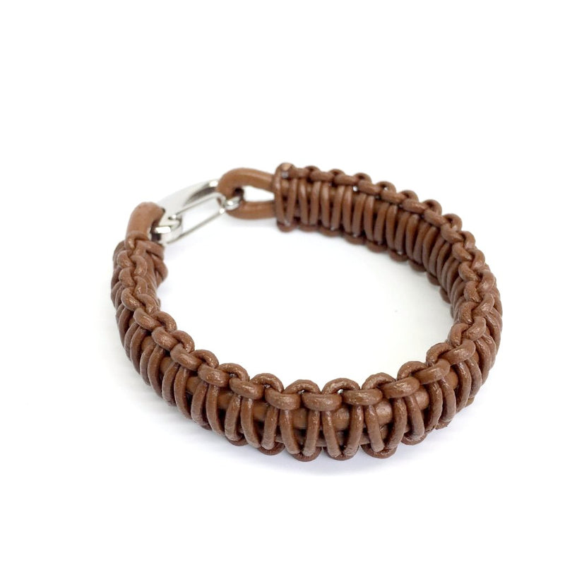 Men's Italian Leather and Stainless Steel Bracelet with Hook Clasp