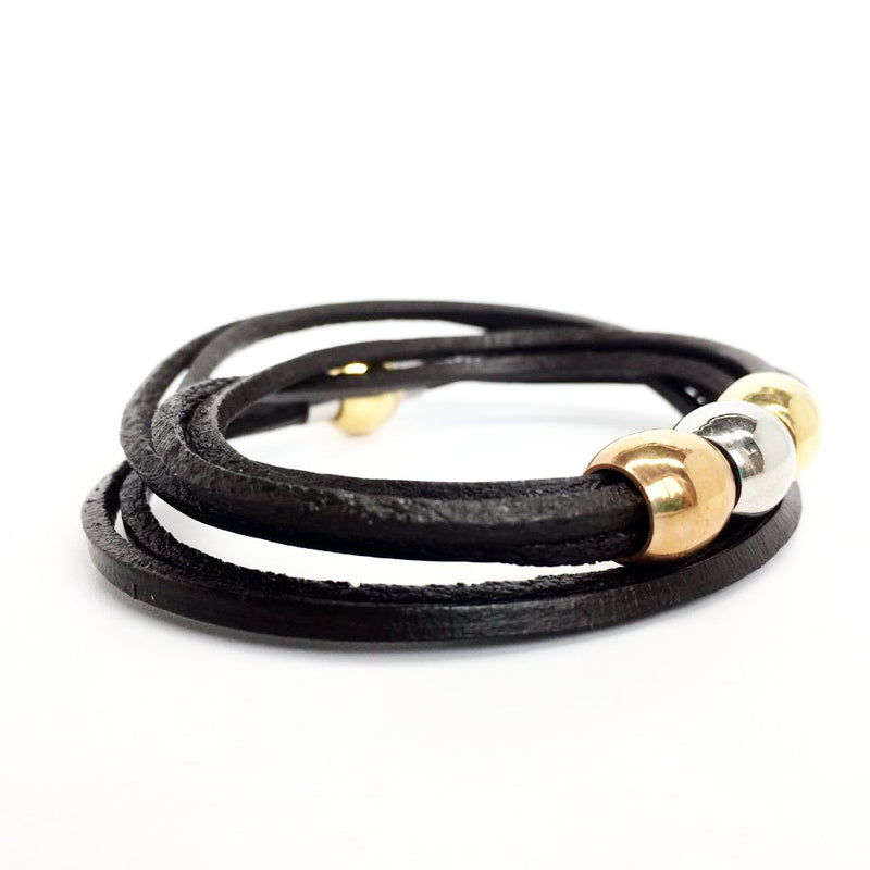 Italian Leather and Stainless Steel Bracelet with Magnetic Closure