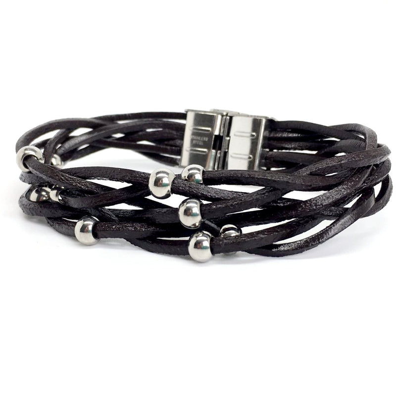Italian Black and Brown Genuine Leather Bracelet with Stainless Steel Beads