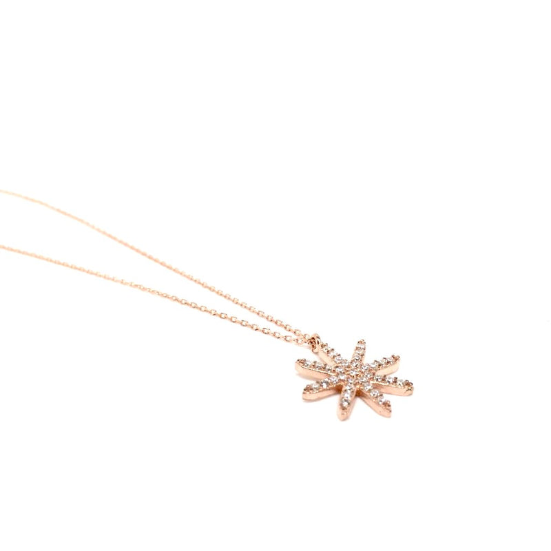Sterling Silver and Rose Gold Star with Crystals Pendant Necklace