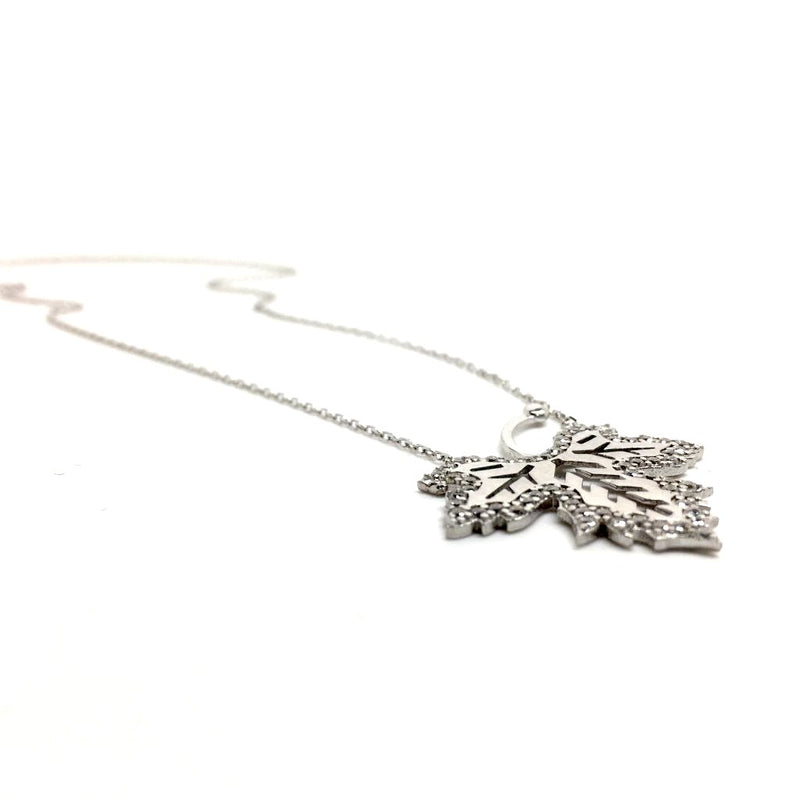 Winter Necklace, Crystal Leaf Necklace. 925 Sterling Silver