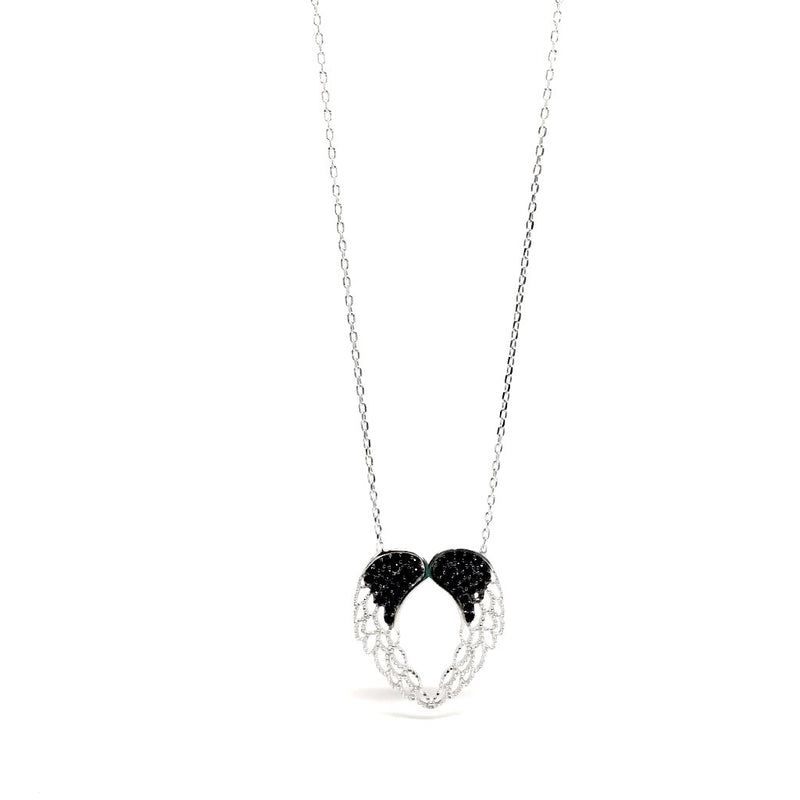 Angels 925 Sterling Silver WINGS with Black Cubic Zirconia Pendant Necklace