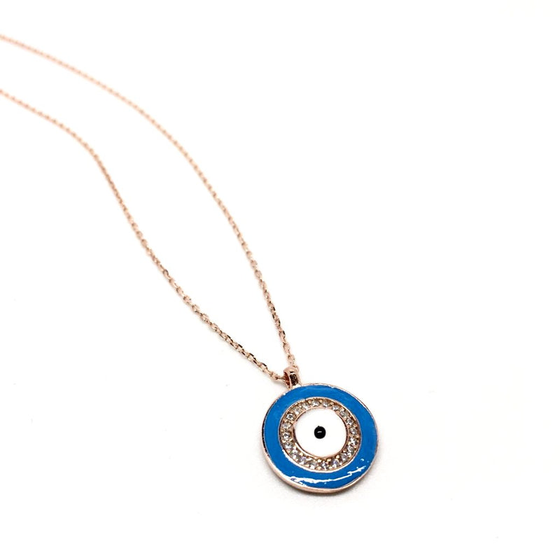 Sterling Silver Round Pendant Evil Eye (Turkish Eye)