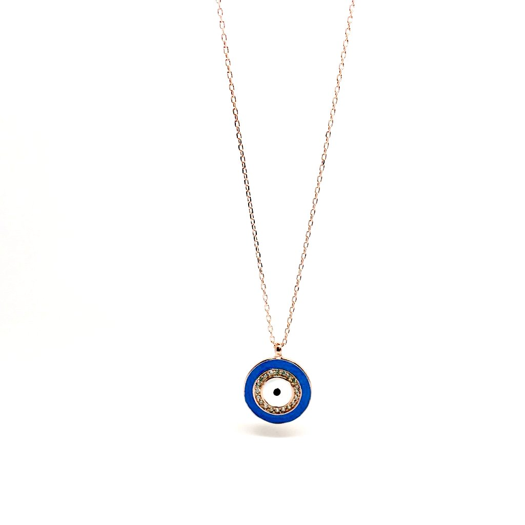 Mediterranean style 925 sterling silver round pendant evil eye mediterranean style 925 sterling silver round pendant evil eye turkish eye necklace buycottarizona Image collections
