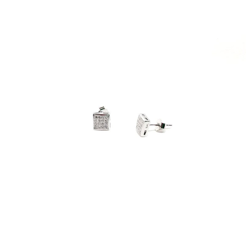 Sterling Silver and Rose Gold Cubic Zirconia Square Stud Earrings