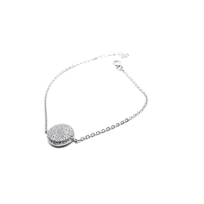 925 Sterling Silver with Crystals Round Pendant Bracelet