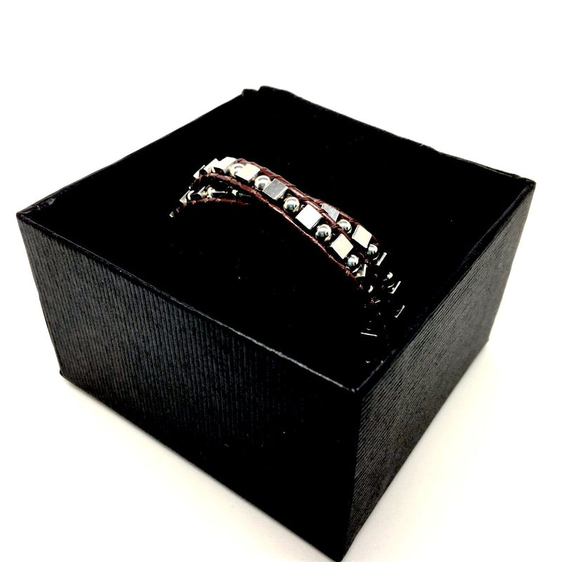 Black & Brown Leather Stainless Steel Bracelet with luxurious gift box