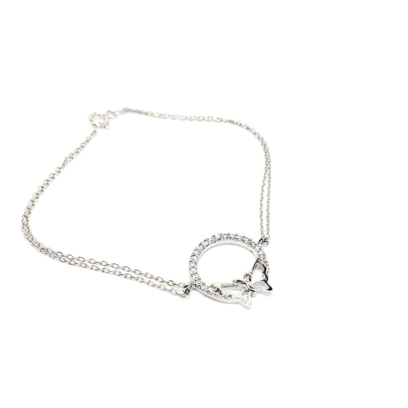 Sterling Silver Cubic Zirconia with Butterfly Bracelet. Gift Box Included