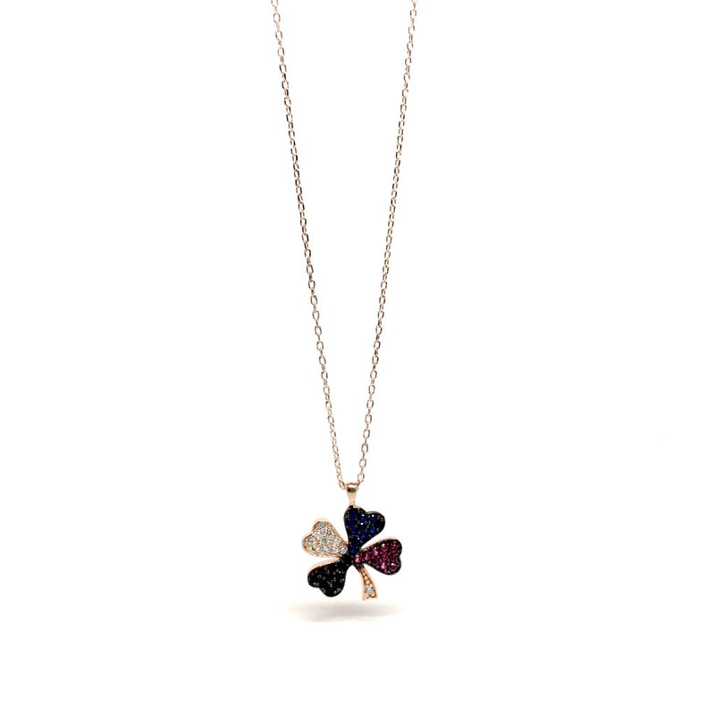 Small Lucky Clover 925 Sterling Silver Necklace with stones