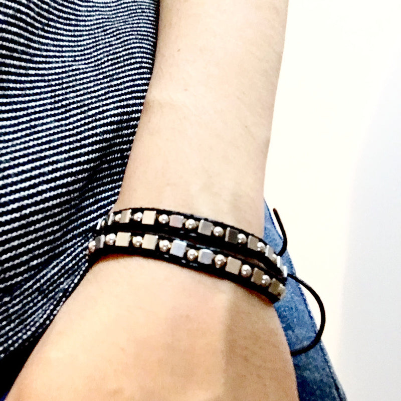 Black & Brown 100% Leather Stainless Steel Bracelet - Naked Nation - 2