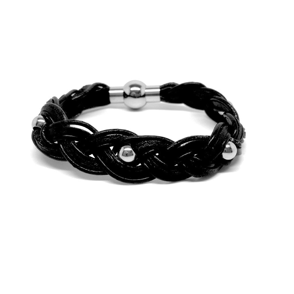 Men\'s Jewellery Leather & beads Bracelet with Plated Stainless ...
