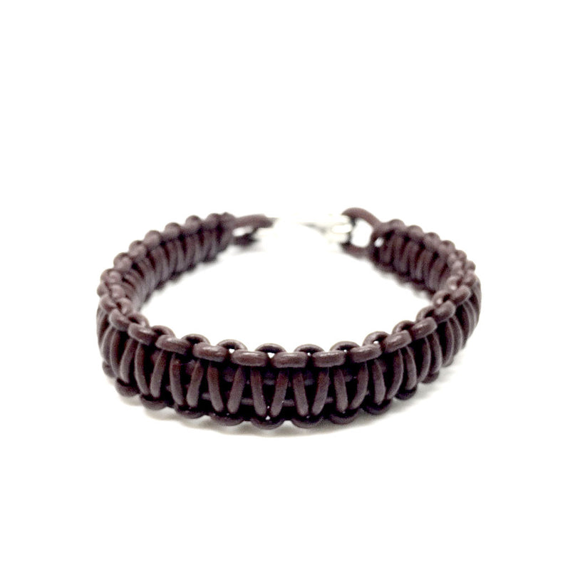 Men's Jewellery brown & black Leather bracelet with Plated Stainless Steel Hook Clasp - Naked Nation - 2