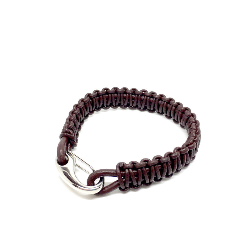 Men's Jewellery brown & black Leather bracelet with Plated Stainless Steel Hook Clasp - Naked Nation - 1