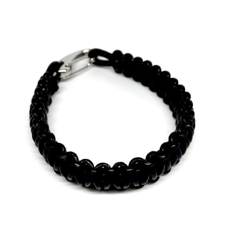Men's Jewellery brown & black Leather bracelet with Plated Stainless Steel Hook Clasp - Naked Nation - 8