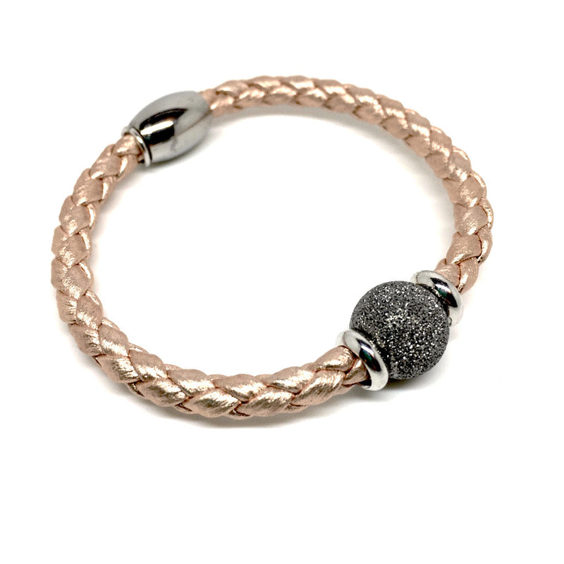 Luxury Rose Gold Bracelet with Silver Ball & Magnetic Closure - Naked Nation - 2