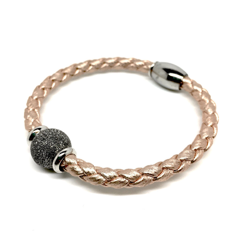 Luxury Rose Gold Bracelet with Silver Ball & Magnetic Closure - Naked Nation - 3