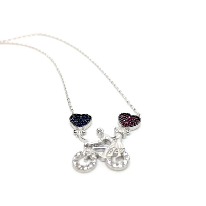 Sterling Silver Bicycle Necklace with Cubic Zirconia Hearts Pendant