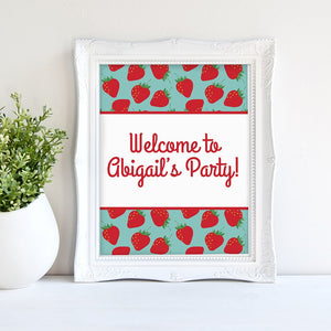Free Printable Strawberry Party Welcome Sign