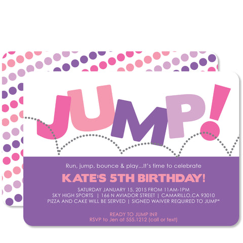 Jump Birthday, Pink & Purple