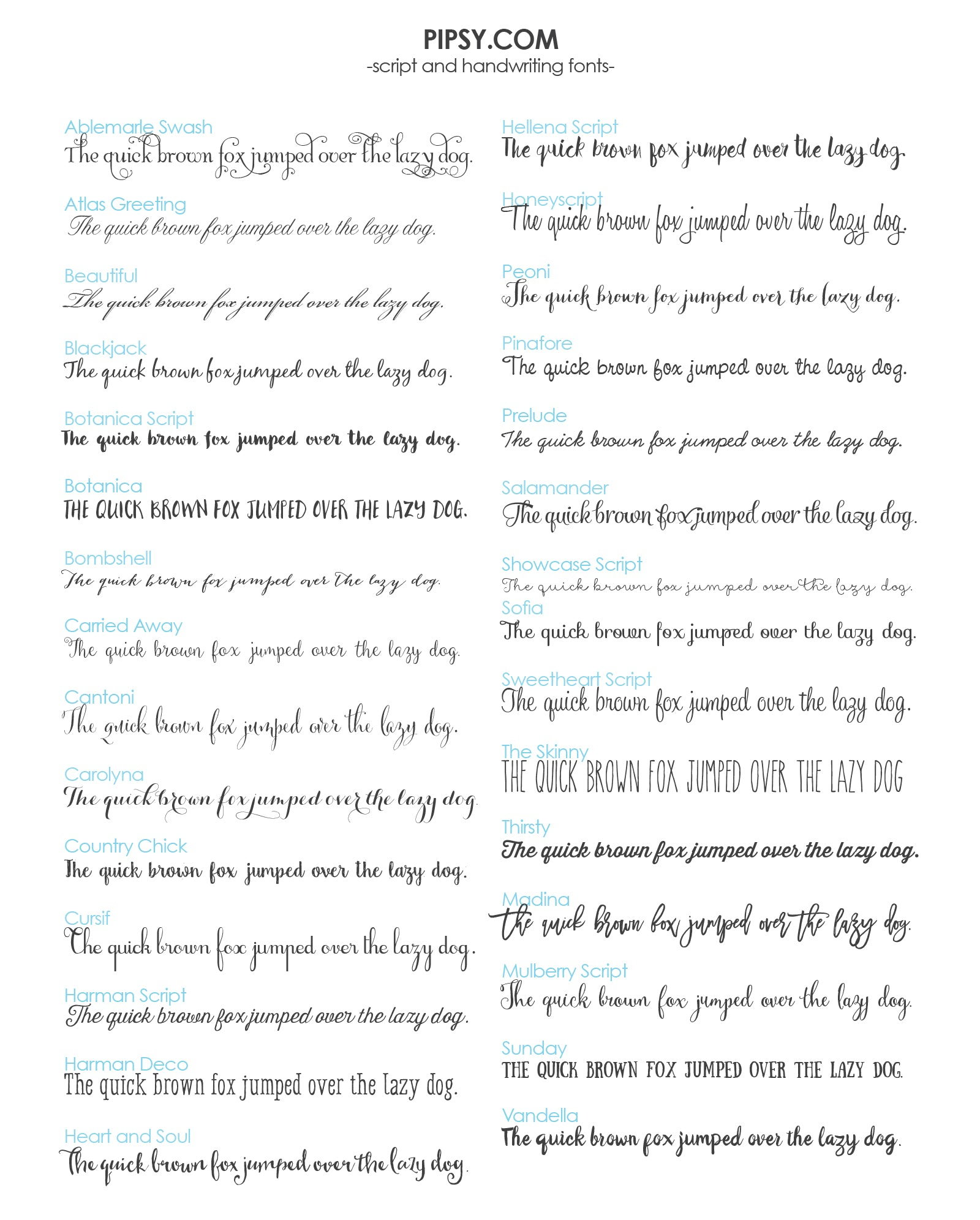 Pipsy Font List - Script and Handwriting