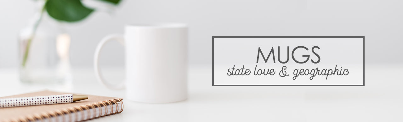 State Love & Geographic Mugs, Texas, California, Louisiana, New York, Michigan, Wisconsin