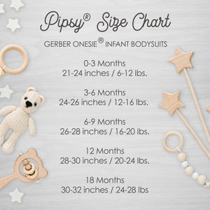 Pipsy Gerber Onesie® Size Chart