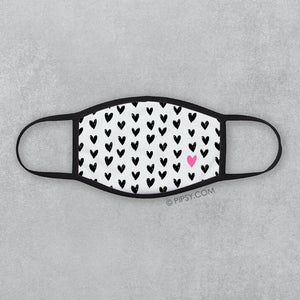 Black Heart Face Mask with a Hot Pink Accent, PIPSY.COM