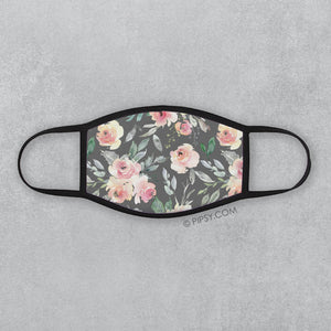 Floral Face Mask, Gray and soft Peach, PIPSY.COM
