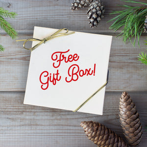 Free white Gift box secured by a gold elastic sting included with your purchase
