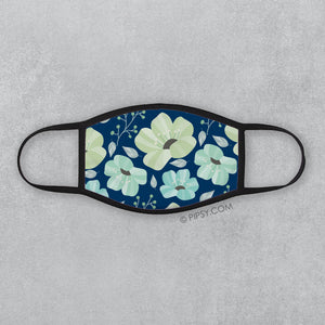 Floral Face Mask, Blue and Mint, PIPSY.COM