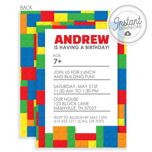 Building Block Birthday Invitations (DIY Printable)
