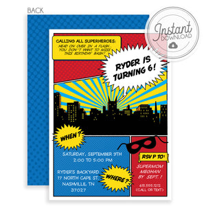 Superhero Birthday Invitation, DIY Instant Download, Edit and send today using templett.com, PIPSY