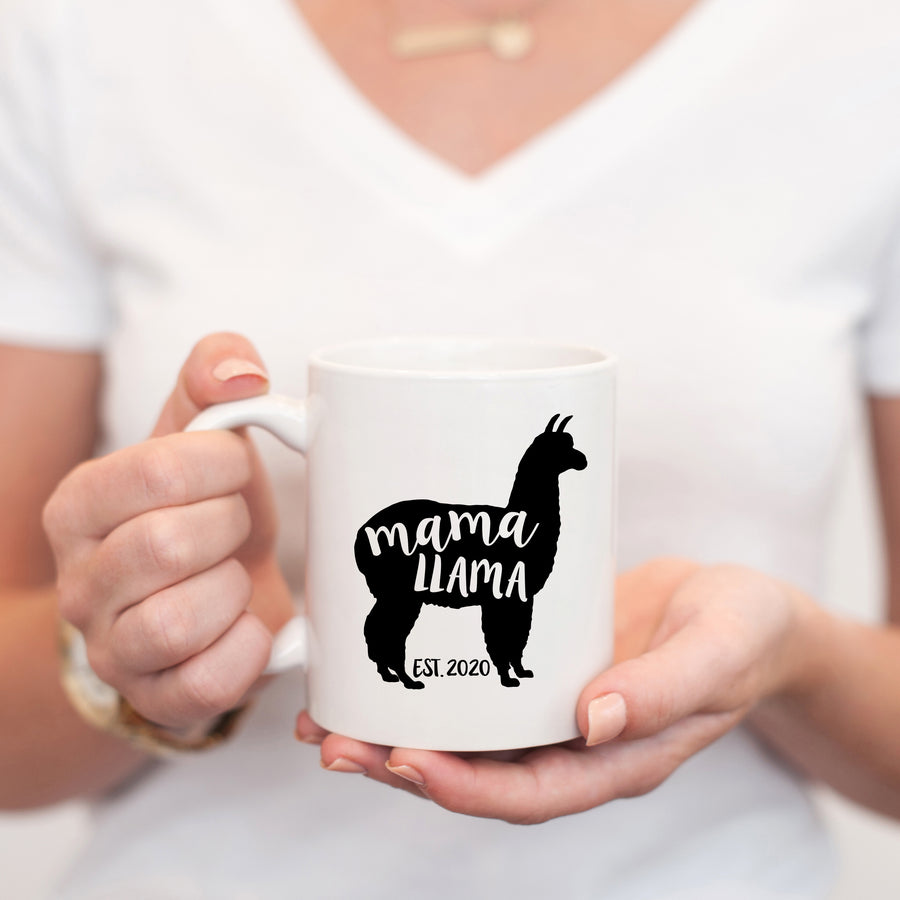 Mama Llama coffee mug, with established date, PIPSY.COM