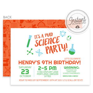 Mad Science Birthday Invitations, Orange & Green (DIY Printable)