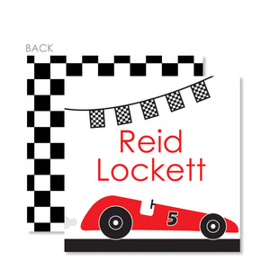 Race Car Party Cardstock Favor Tag (Printed)