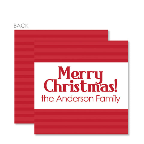 Red Stripe Square Gift Tags