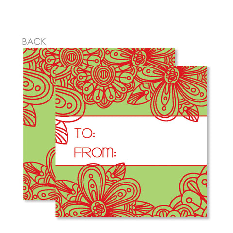 Red Blossom Gift Tags