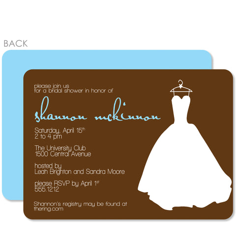 Wedding Dress Brown Shower Invitation