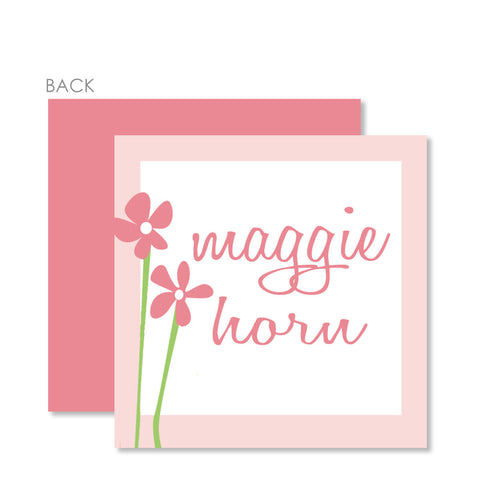 Sweet Flowers On Pink Gift Tags