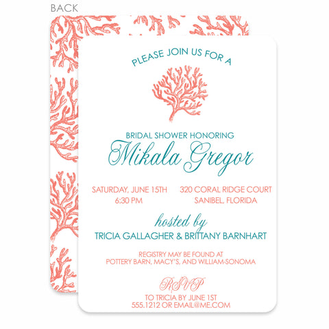 Coral Bridal Shower Invitation