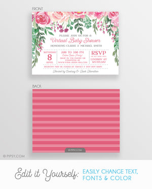 Roses Virtual Baby Shower Invitation (DIY Printable)