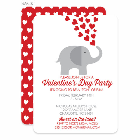 Elephant With Red Hearts Valentine's Day Invitation
