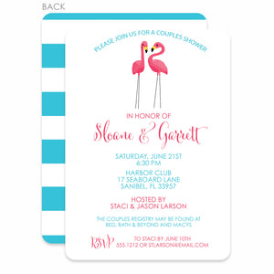 Flamingo Party Bridal Shower Invitation, Blue