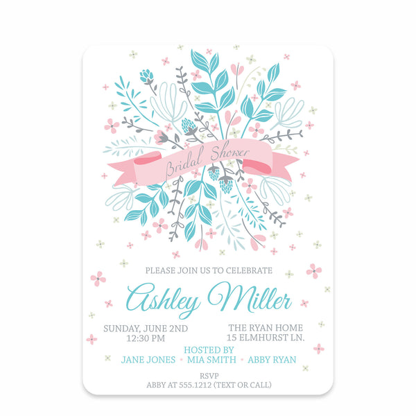 Floral Ribbon Bridal Shower Invitation